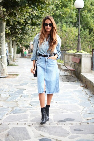 stella wants to die blogger skirt sunglasses shirt shoes bag denim dress denim slit skirt denim skirt midi skirt blue skirt boots black boots high heels boots black sunglasses denim shirt all denim outfit blue shirt shoulder bag black bag