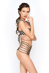 swimwear,montce swim,bikini bottoms,black,braided,cut-out,floral,high waisted,montce,montce swimwear,print
