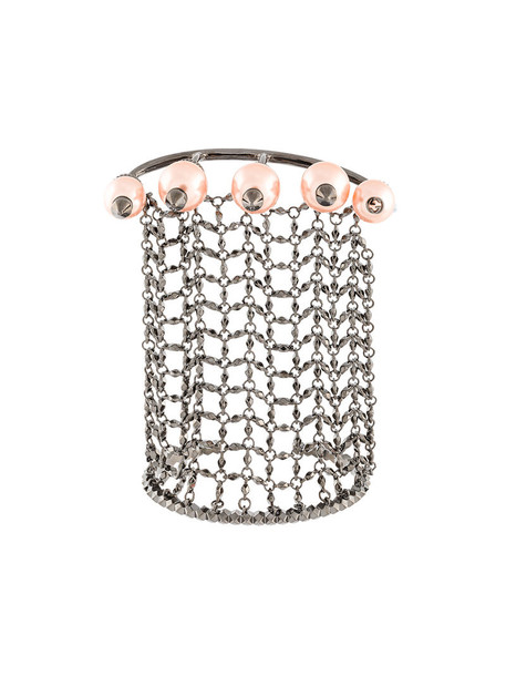 cuff women pearl cuff bracelet grey bronze metallic jewels