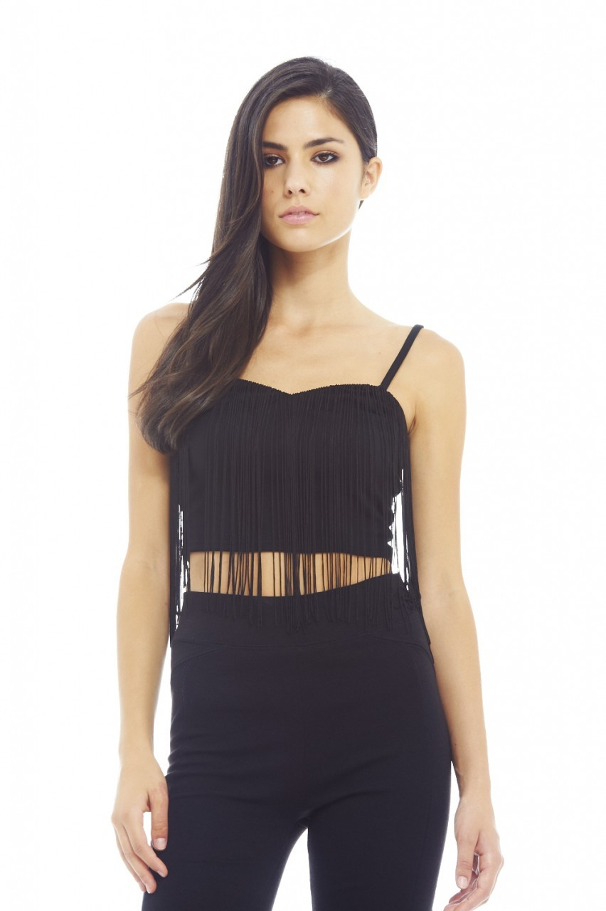 Black Tassel Strappy Crop Top