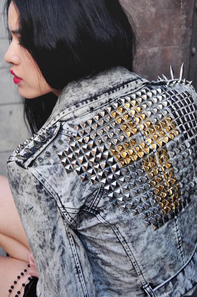 jacket girl studded jacket gold silver denim jacket acid wash