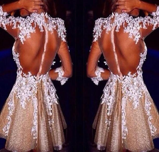 dress dress gold mini prom dress  lace appliqué ue