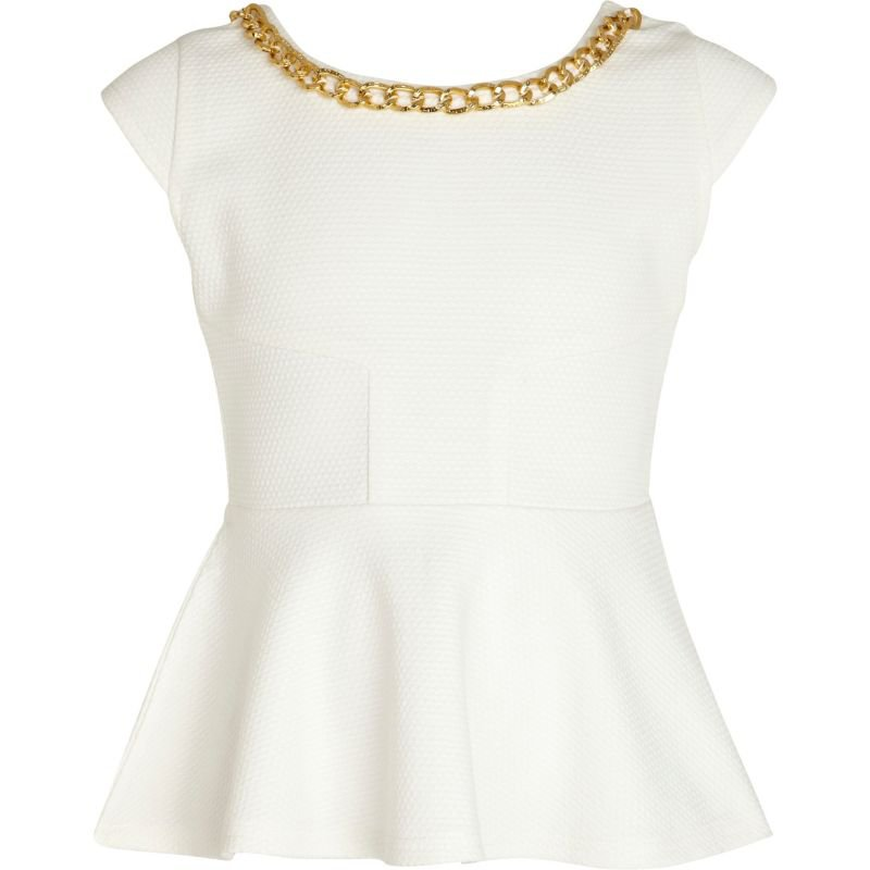 Girls white chain trim peplum top - tops - t-shirts / tanks / tops - girls on Wanelo