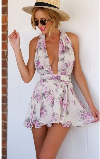 dress floral dress summer v neck short dress mini dress sleveless