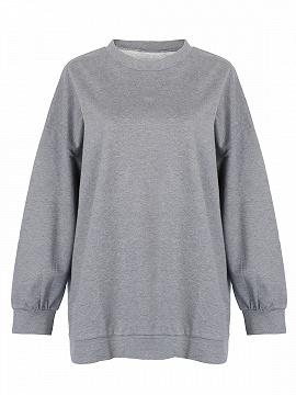 Grey Loose Longline Sweatshirt - Choies.com