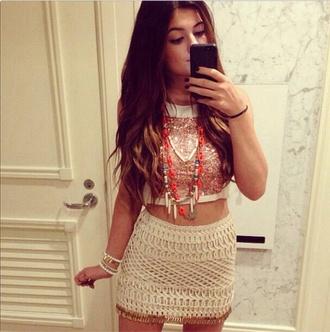 skirt crop tops sequins kylie jenner cute kardashians summer outfit tank top jewels