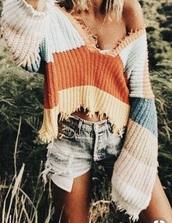 sweater,winter outfits,rainbow,cute,jumper,summer