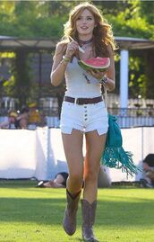 top,shorts,coachella,boots,bella thorne,necklace,shoes,underwear,jewels,festival,choker necklace,celebrity style,celebrity,celebstyle for less