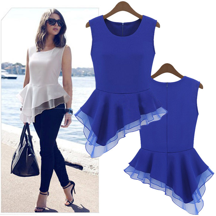 Uneven Peplum Blouse