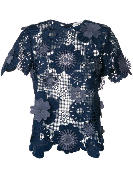mesh women floral blue top