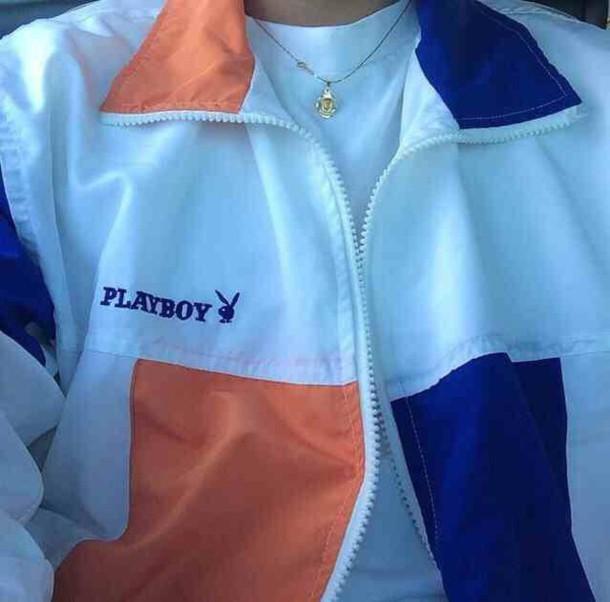 jacket playboy orange blue jacket zipper jacket playboy bunny cute outfits coat windbreaker vintage windbreaker playboy jacket playboy windbreaker peach white blue dope supreme urban menswear aesthetic tumblr grunge rain jacket