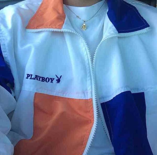 Jacket playboy orange blue jacket zipper jacket playboy bunny cute outfits coat ...
