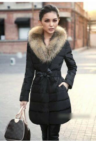 coat fur puffer jacket chic casual