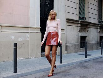 skirt tumblr red skirt mini skirt vinyl zipped skirt top pink top pumps pointed toe pumps mid heel pumps vinyl skirt