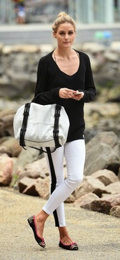 top,pants,ballet flats,shoes,olivia palermo,printed ballerinas,white pants,black top,long sleeves,bag,white bag