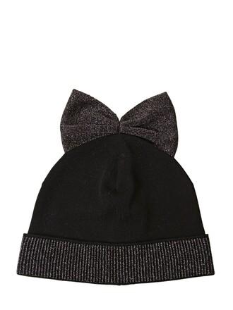 bow hat beanie wool silver black