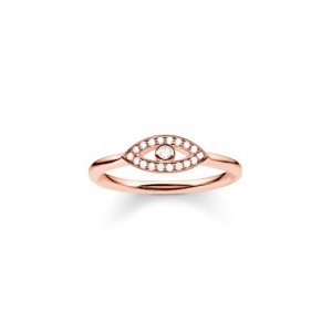2f317b51d55715 Thomas Sabo Cubic Zirconia, Sterling Silver Rose Gold Plated Evil Eye Ring