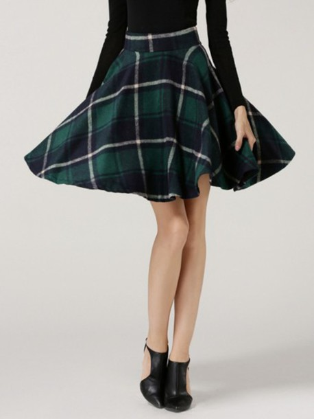 3a08938e2 skirt, choies, green plaid skirt, high waist plaid skirt, green ...