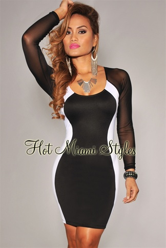 Black White Hourglass Mesh Long Sleeves Dress