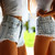 Dangers Pale Frayed Studded Shorts | RUNWAYDREAMZ
