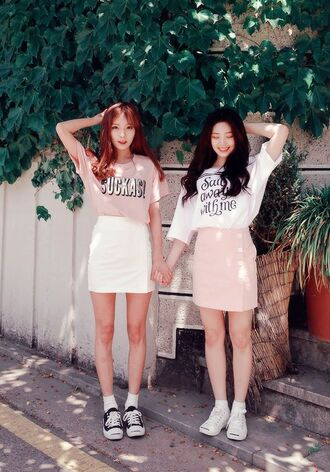 blouse pastel cute asian fashion pink skirt white skirt white blouse pink shirt korean fashion korean style white sneakers black converse skirt