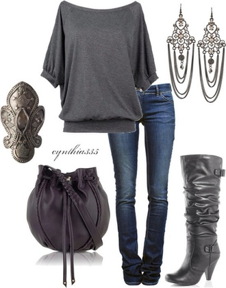 grey boots grey bag blouse jeans earrings purse grey blouse ring jewels