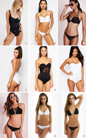 passions for fashion blogger one piece swimsuit black swimwear white bikini strapless summer outfits beach