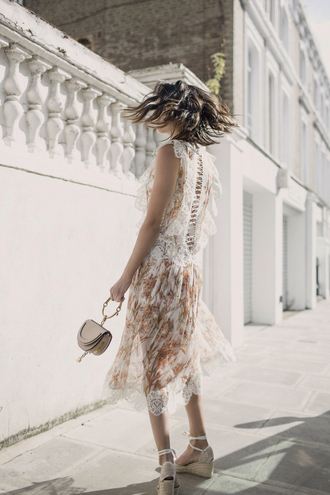dress tumblr floral floral dress sleeveless see through flowy sandals wedges wedge sandals bag mini bag shoes
