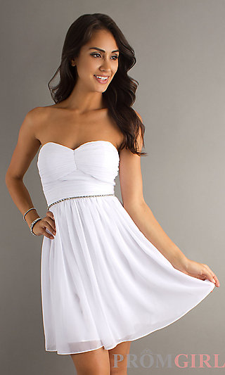 Short Strapless White Dress, Strapless Graduation Dress- PromGirl