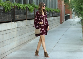 sophistifunk by brie bemis rearick | a personal style + beauty blog blogger dress shoes bag jewels sunglasses burgundy dress floral dress ankle boots stacked wood heels