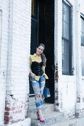 wendy's,lookbook,blogger,shirt,top,jeans,shoes,ripped jeans,corset,yellow shirt,pumps,high heel pumps,spring outfits