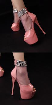 hot,new,pink,heels,stilettos,pinkdaggershoes,peep toe heels,bling,diamonds,sexy,pumps,pumps sparkly heels,ankle strap heels,zip,shoes,peep toe pumps