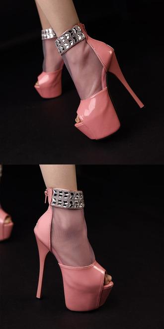 hot new pink heels stilettos pinkdaggershoes peep toe heels bling diamonds sexy pumps pumps sparkly heels ankle strap heels zip shoes