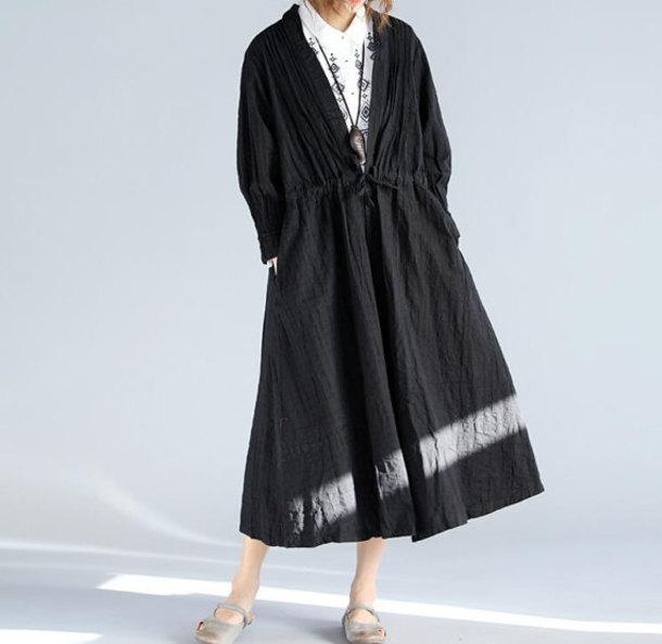 coat long linen windbreaker