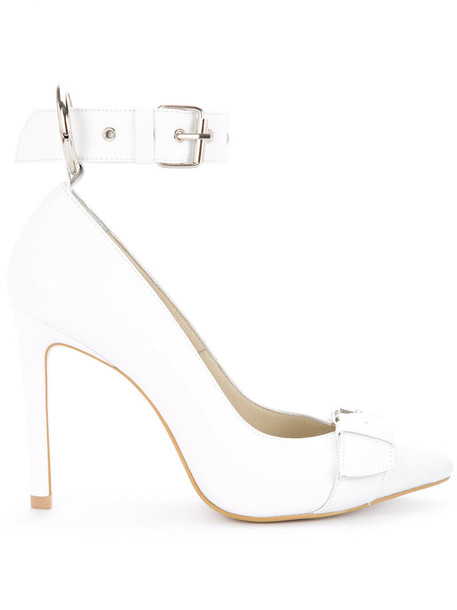 ankle strap women pumps leather white shoes