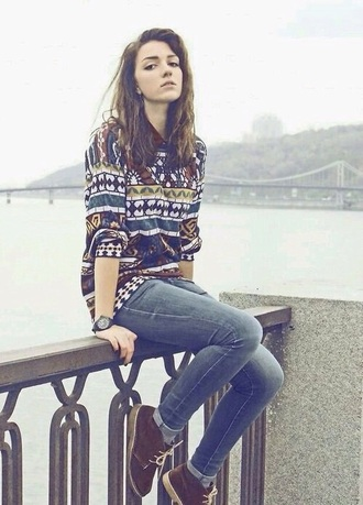 sweater love cute pretty jeans trainers shorts pants winter autum shirt jumper aztec tribal sweater style fashion stylish hair accessory