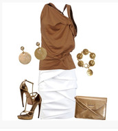 skirt,top,shirt,blouse,sand,tank top,short sleeve,gathered,funny,pencil skirt,white skirt,layered,layered skirt,earrings,heels,ankle strap heels,high heels,purse,clutch,t-strap,clothes,outfit