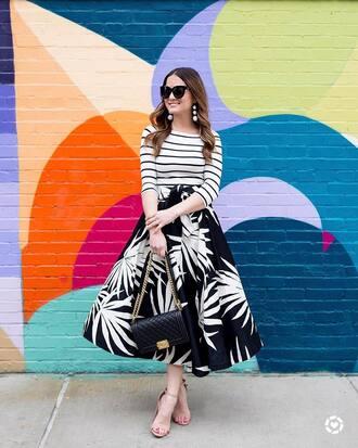 skirt tumblr midi skirt black skirt sandals sandal heels high heel sandals stripes striped top bag black bag sunglasses shoes top