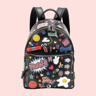 bag designer bag patch pop art smiley black leather backpack leather backpack black backpack anya hindmarch eyes arrow heart banana print cherry egg