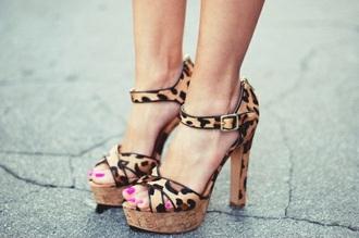 shoes leopard shoes leopard print heels sandals high heels plateau peep toe ankle strap beautyful