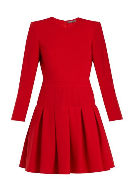 Alexander Mcqueen dress silk wool red