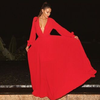 dress desi perkins youtuber red dress maxi dress v neck dress plunge v neck long sleeve dress long dress
