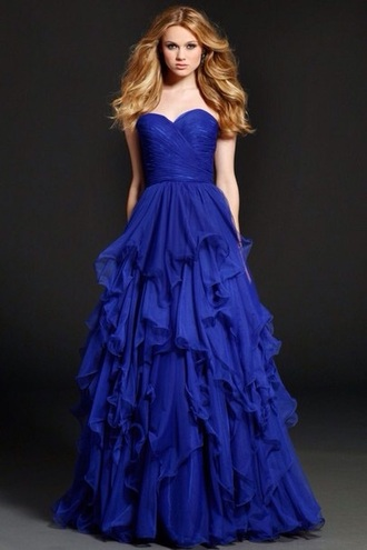 dress blue chiffon ruffle jovani gown