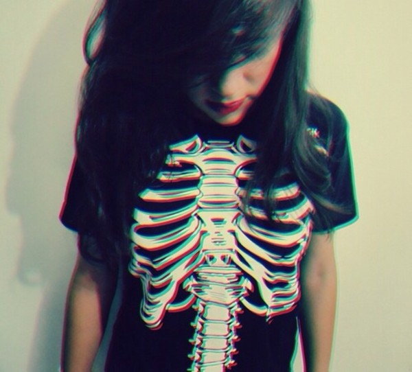 t-shirt black skeleton