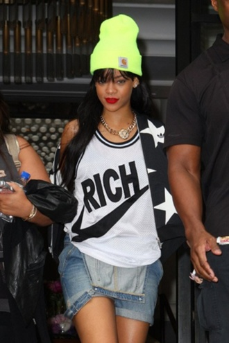 shirt nike rihanna the best rated r jewels hat jacket jeans shoes tank top white yellow black nike rich swoosh