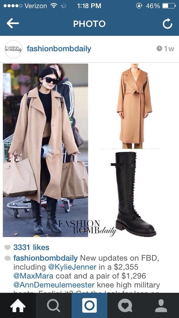 kylie jenner camel coat