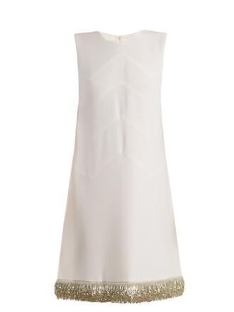 dress sleeveless embellished wool cream