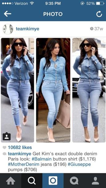 kim kardashian denim denim shirt