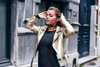 jacket gold leather jacket tumblr gold metallic cropped jacket dress silver silver dress bodycon dress long sleeves long sleeve dress knitwear knitted dress choker necklace black choker necklace