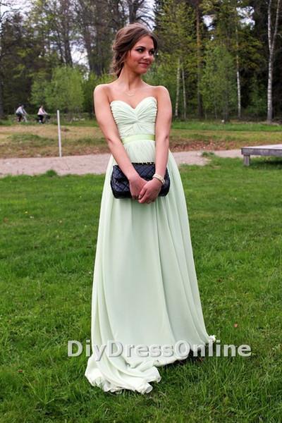 Line sweetheart neck sage chiffon simple prom dresses long graduation dresses cheap bridesmaid dresses apd1447 · diydressonline · online store powered by storenvy